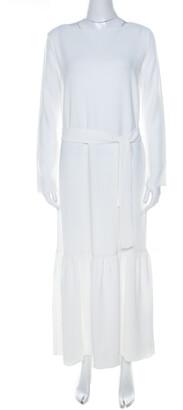 The Row Off White Crepe Flounce Hem Belted Lulchin Maxi Dress XS