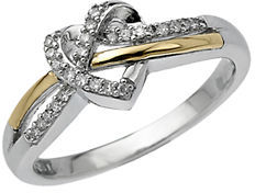 Lord & Taylor Sterling Silver & 14Kt. Yellow Gold Heart Ring with Diamonds