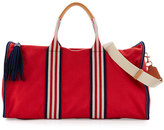 Tory Burch Embroidered-T Canvas Weekender Bag, Cherry Apple