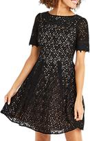 Oasis Lace Trim Sleeve Skater Dress, Black