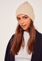Missguided Plain Ribbed Beanie Hat Nude
