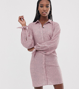 Fashion Union Tall shirt dress with tie sleeves in spot-Pink