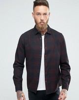 Asos Regular Fit Buffalo Plaid Shirt In Burgundy