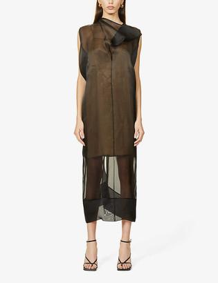 Vesture Semi-sheer draped silk organza midi dress
