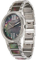 Honora Black Mother-of-Pearl Oval StainlessBracelet Watch