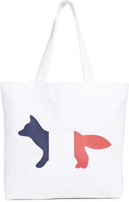 MAISON KITSUNÉ Tri-color Fox Tote Bag