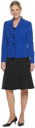 Le Suit Women's Shawl Collar Jacket & Flounce Hem Skirt Set