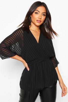 boohoo Sheer Stripe Wrap Belted Blouse