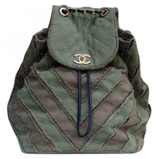 Chanel Khaki Cloth Backpacks