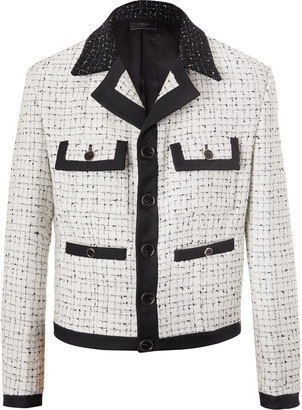 Amiri Cropped Silk Twill-Trimmed Boucle Jacket