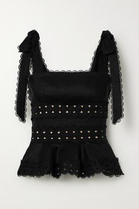 Zimmermann Kirra Crochet-trimmed Linen Top - Black