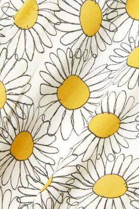 HVN Annika Floral-print Crepe Midi Dress - White