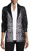 Misook Luxe Leopard-Print Jacket, Petite