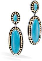 John Hardy Sterling Silver and 18K Bonded Gold Dot Oval Drop Earrings with Turquoise