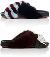 Fendi Women's Mismatched Fur Slide Sandals