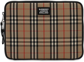 Burberry Check Cotton Blend Canvas Laptop Case