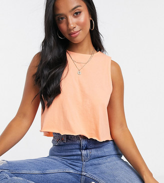 ASOS DESIGN Petite crop swing vest in coral