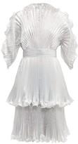Zandra Rhodes Sunray-pleated Lame Knee-length Dress - Womens - Silver