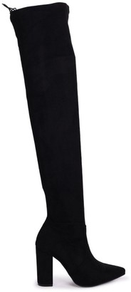 Linzi REIGN - Black Suede Pointed Block Heeled Over The Knee Boot with Tie Up Back