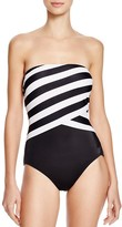 DKNY Iconic Stripe Layered Bandeau One Piece Swimsuit