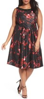 Sangria Plus Size Women's Embellished Print Party Dress