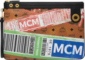 MCM Top Zip Pouch In Flight Print Visetos