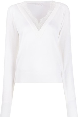 Chloé lace-trim V-neck jumper