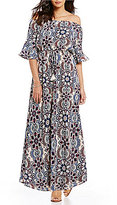 Gibson & Latimer Printed Off-The-Shoulder Maxi Dress