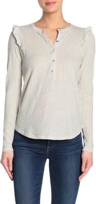 Lucky Brand Dotted Ruffle Henley Shirt