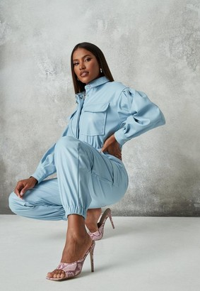Missguided Blue Faux Leather Boiler Romper