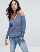 Boohoo Cold Shoulder Fisherman Sweater