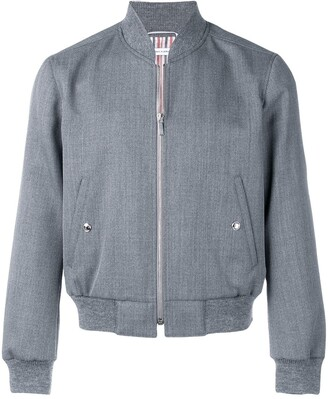 Thom Browne Rwb Stripe Ribbed Blouson Jacket