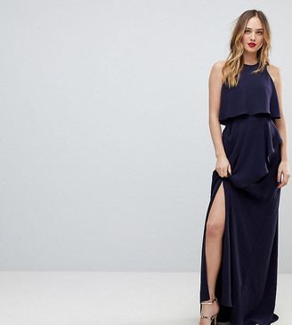 Asos Tall TALL Crop Top Thigh Split Maxi Dress-Navy