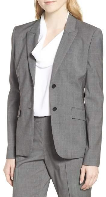 BOSS Julea Mini Houndstooth Stretch Wool Jacket (Regular & Petite)