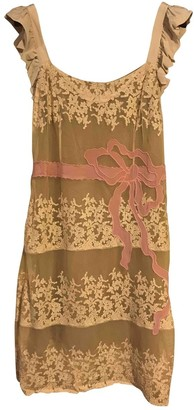 Valentino Red Beige Lace Dress for Women