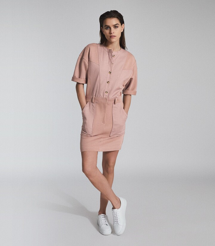 Thumbnail for your product : Reiss Emlyn - Panel Detail Sweatshirt Dress in Pink