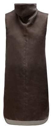 The Row Mora High-neck Silk-organza Tunic Top - Womens - Dark Brown