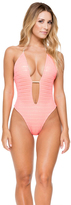 Luli Fama Take Me To Paradise Plunge Cheeky One Piece In Coral (L530788)