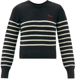 Ami Logo-embroidered Striped Wool Sweater - Black White