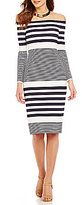 Eliza J Off-The-Shoulder Long Sleeve Stripe Sheath Dress