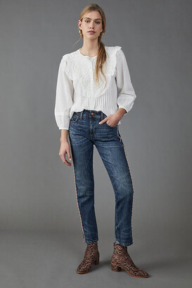 Pilcro And The Letterpress Pilcro Mid-Rise Bleached Tie-Dye Slim Boyfriend Jeans By in Blue Size 24