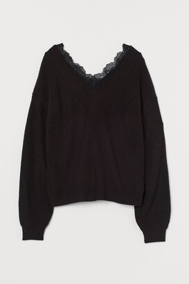 H&M Lace-trimmed jumper