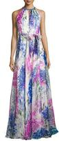 Carmen Marc Valvo Sleeveless Abstract Floral Silk Gown, Blue