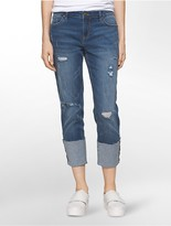 Calvin Klein Boyfriend Fit Destructed Cuffed Jeans