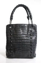Nancy Gonzalez Gray Genuine Crocodile Studded Tote Handbag