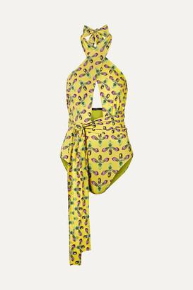 PatBO Cutout Printed Halterneck Swimsuit - Bright yellow