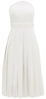 Duncan - Beatrix Pleated Cotton-oxford Bustier Dress - White