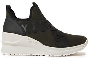 DKNY Camouflage Stretch-knit Wedge Slip-on Sneakers