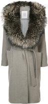 Eleventy fur trim belted coat