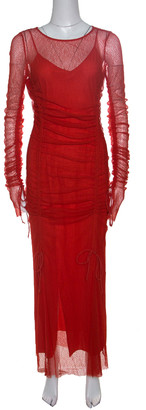 Diane von Furstenberg Red Ruched Mesh Dress M